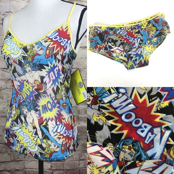 d07fd5064c NEW DC Comic Sleep Set Sz L Top Panty Wonder Woman